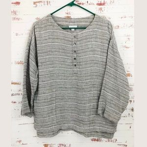 Pure Jill Linen Striped Oversized Top Gray